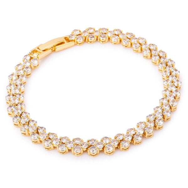 Heart Shaped Cubic Zirconia Tennis Bracelet Gold Tone - NYL11B-GC