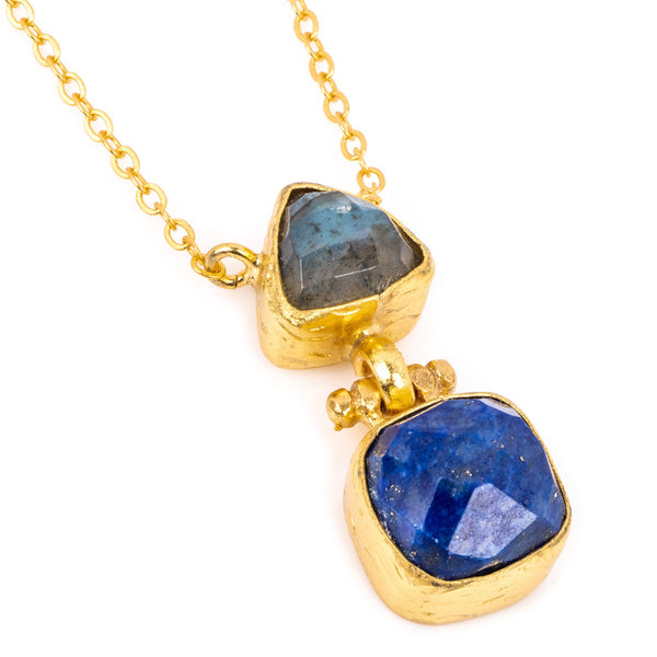 DUO LABRADORITE AND LAPIS STONE NECKLACE