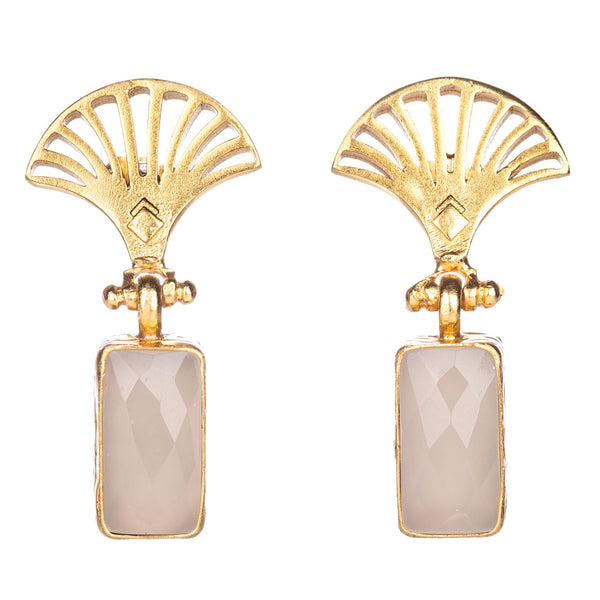 PAUL WHITE CHALCEDONY FAN DROP EARRINGS