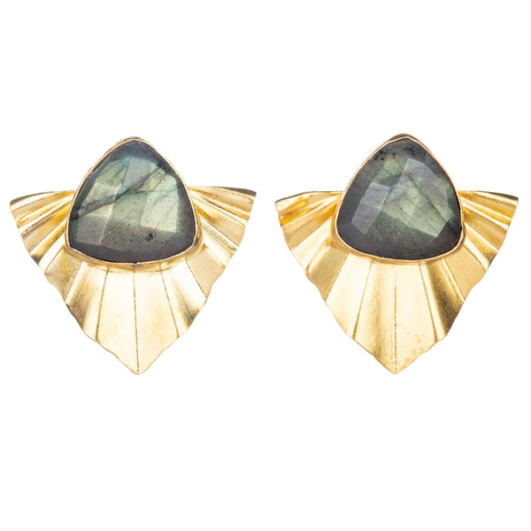 CUZCO LABRADORITE STATEMENT STUD EARRINGS