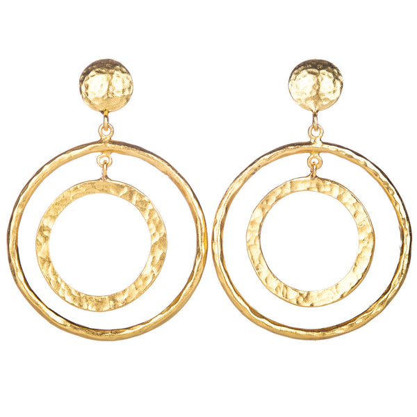 HUSTLE DOUBLE HOOP DROP EARRINGS