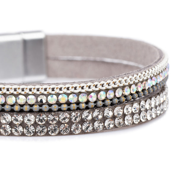 Double Wrap Bracelet - Silver Grey/Clear/AB Crystal