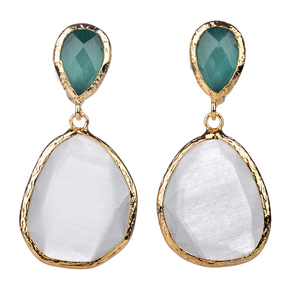 Double Drop Earrings Aqua & Snow