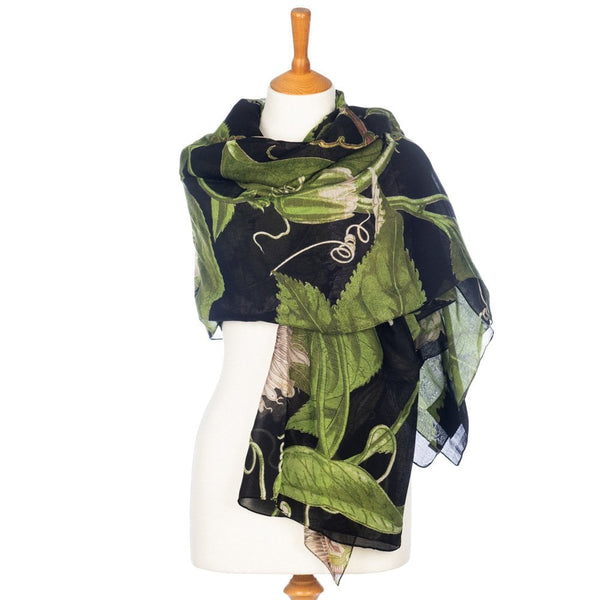 and Kew Royal Botanic Gardens Passion Flower Black Scarf