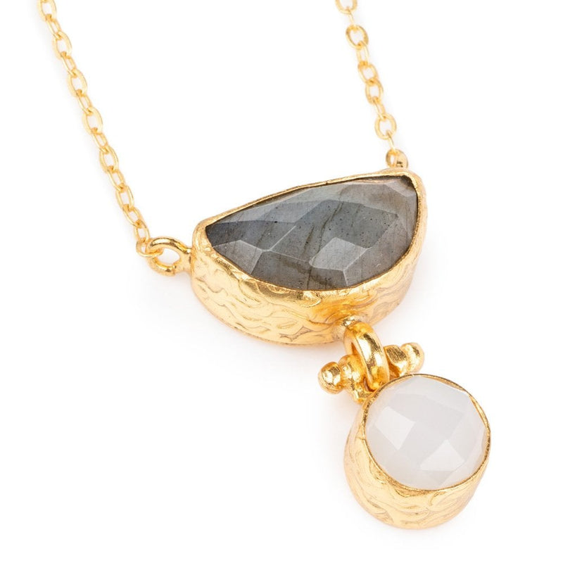 Gemma Mini Semi-Circle Necklace Labradorite White Chalcedony