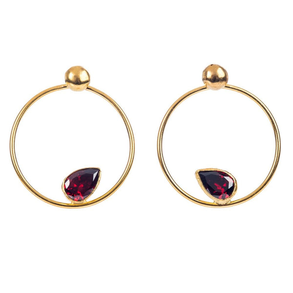 Open Circular Hoop Earrings With Set Crystal Red- CR02/E