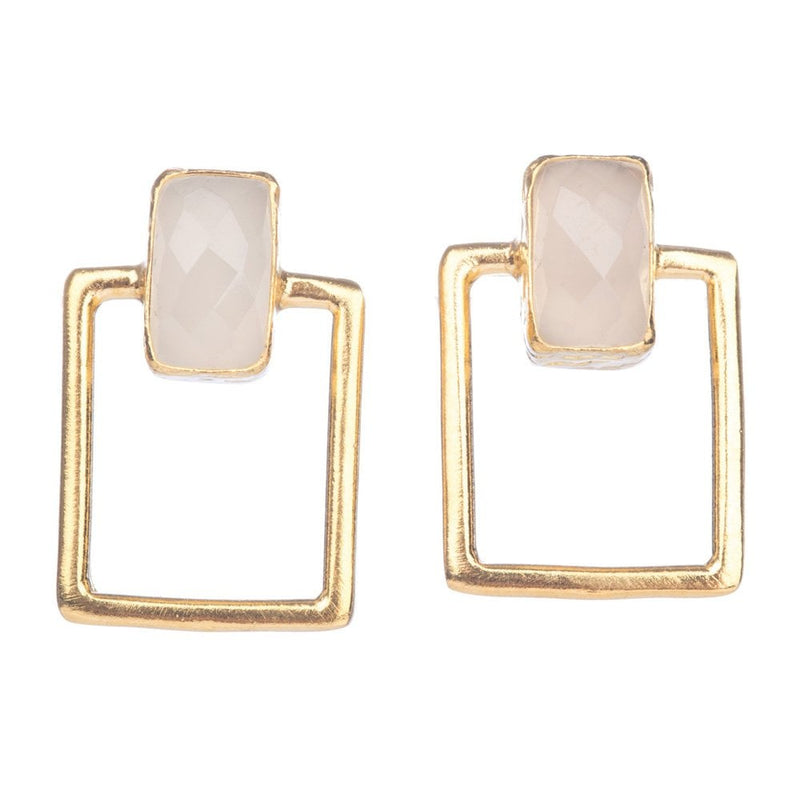 Open Oblong Stud Earrings With White Chalcedony - BA1/E-W