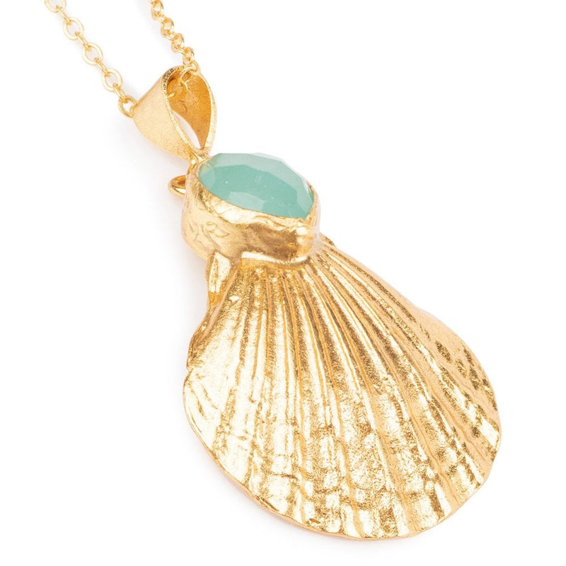 Scallop Shell Necklace Aqua Chalcedony