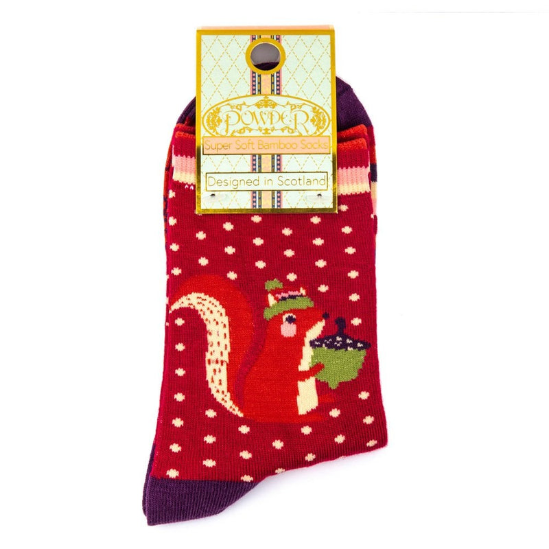Nutty squirrel ankle socks - Fuchsia