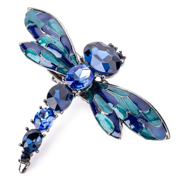 Cobalt Dragonfly Crystal Hairclip And Brooch - FJ1105