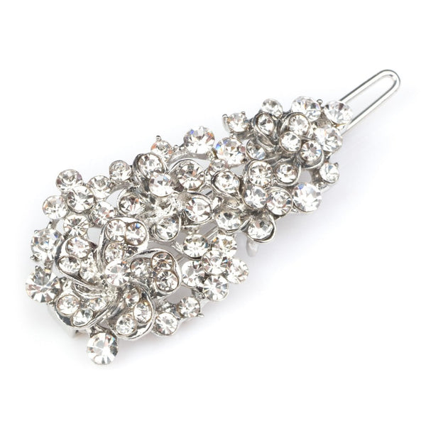 Crystal Flower Hair Grip Silver Tone - FJ1033