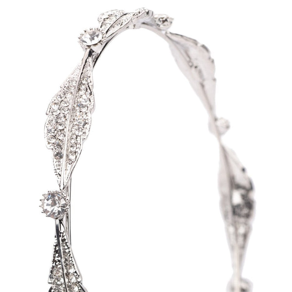 Crystal Leaf Hairband Silver Tone - FB238