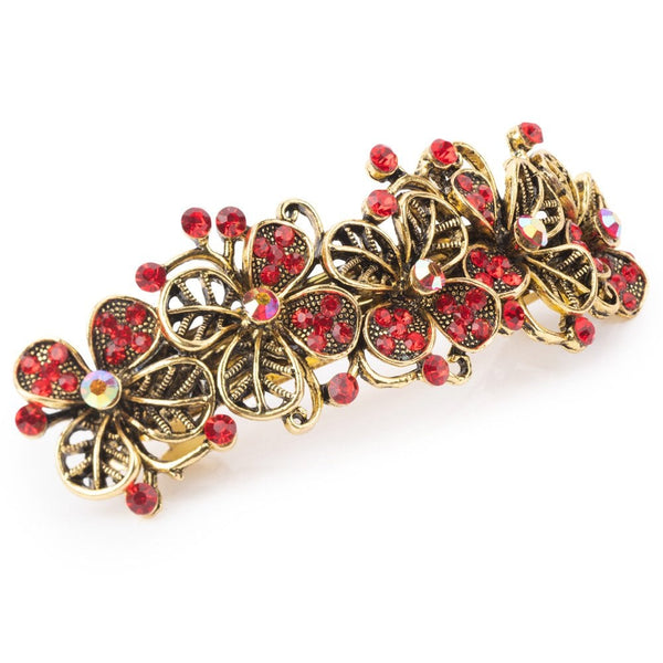 Crystal Poppies Barrette Hair Clip Red- FJ1023