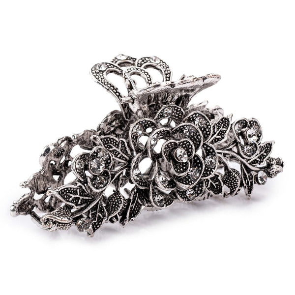 Crystal Rose Jaw Clip Silver Tone - FJ1039