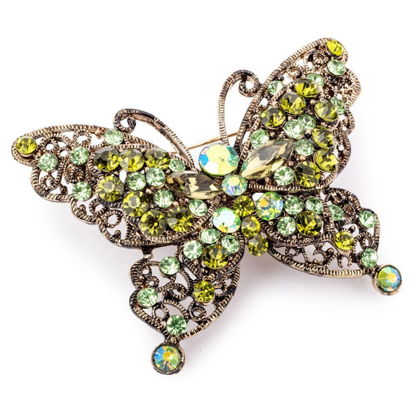 Green Crystal Butterfly Hairclip And Brooch - FJ1085