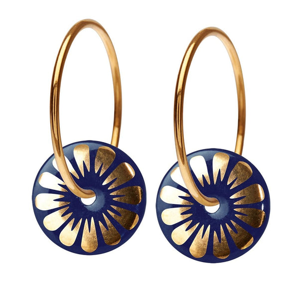 Bloom Hoop Earrings Midnight/Gold