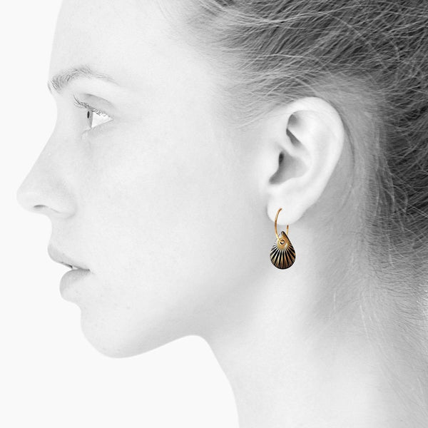 SPLASH Teardrop Hoop Earring Black/Gold