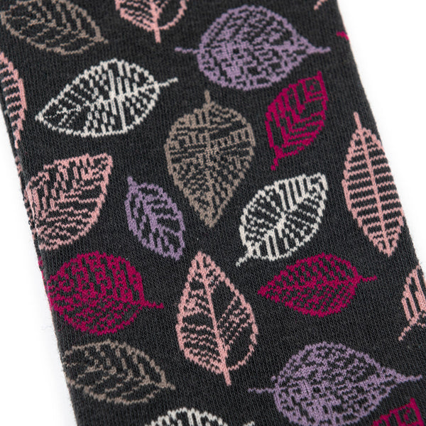 Leaf Knee High Socks Charcoal