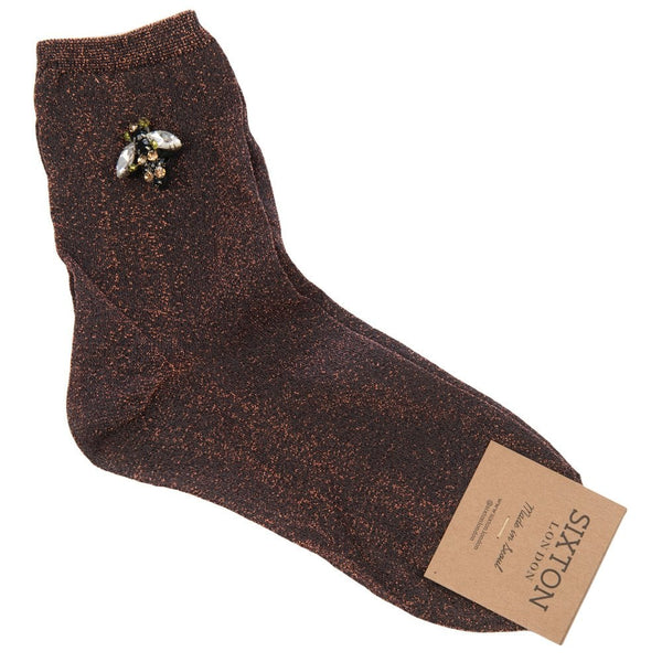 Fine Monaco Sparkly Socks With Bee Pin Copper