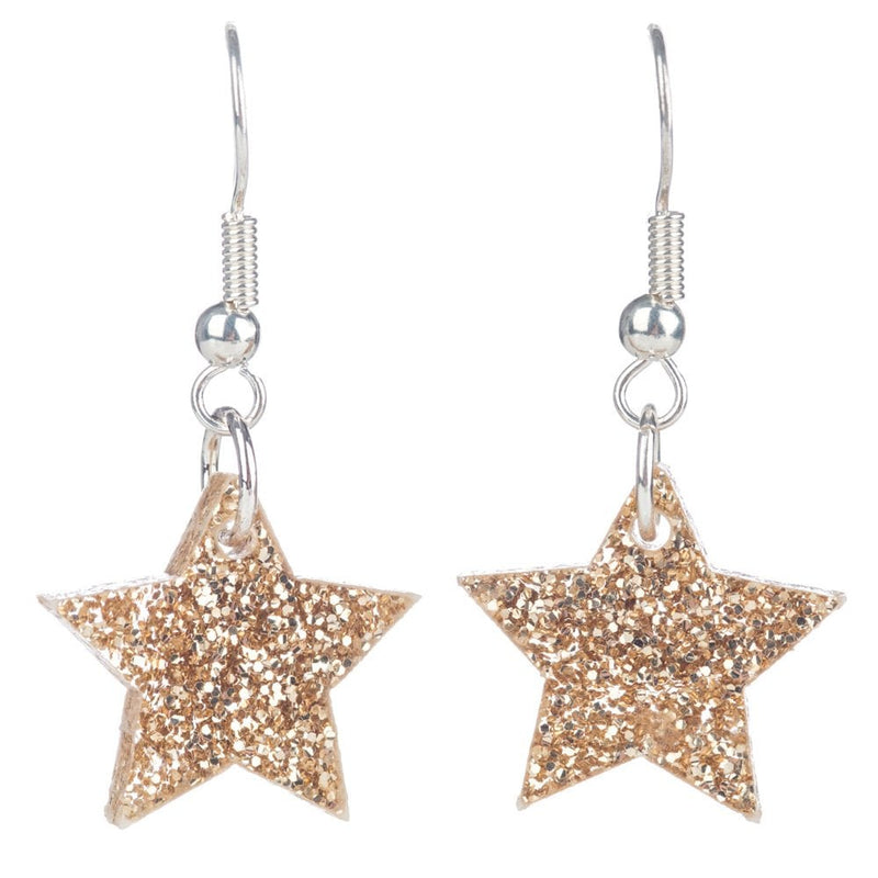 Star Charm Earrings Gold Glitter