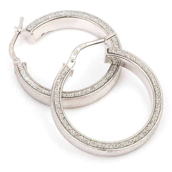 La Satina Glitter Hoop Earrings 27MM Silver - H391