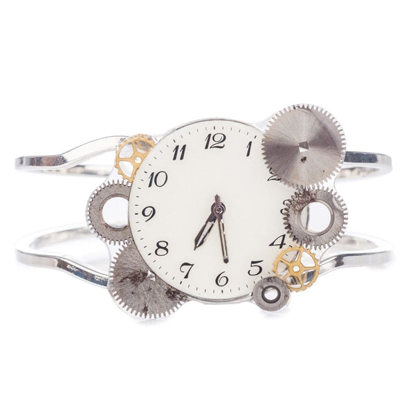 Watch Face Bangle Silver Plated Cream