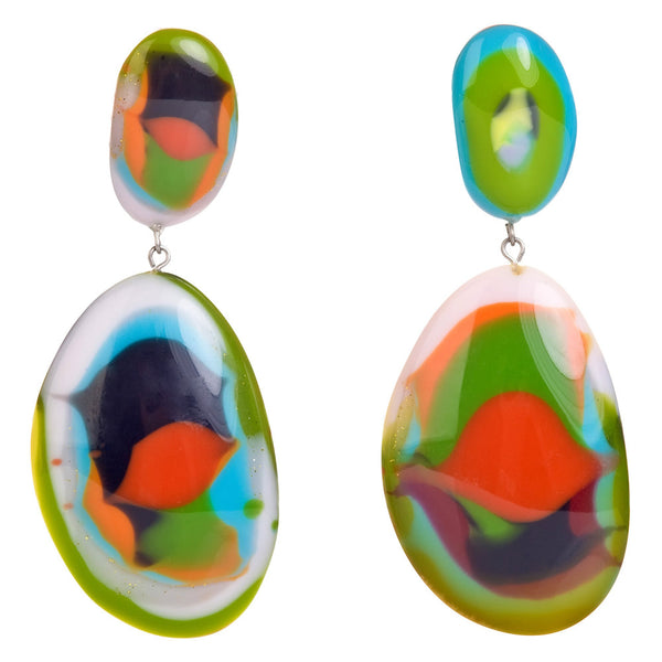 Riverstone double pendant earrings - Kandinsky