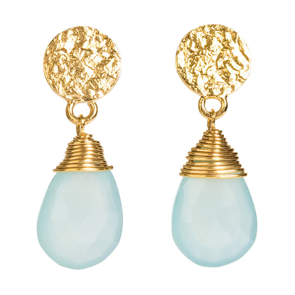 ATHENA KATE GEMSTONE DROP EARRINGS: GOLD AQUA CHALCEDONY