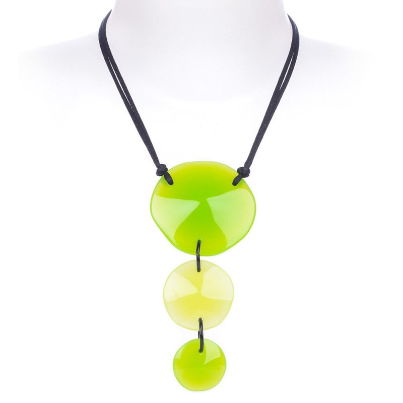 Laguna Three Bead Adjustable Necklace Green