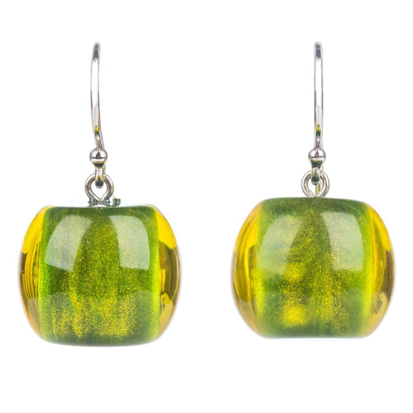 Short Olive Colourful Bead Earrings