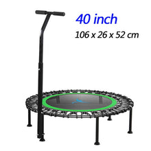 "Load image into Gallery viewer, 40"" Fitness trampoline Silent Mini with Adjustable Handle length Adults Kids indoor GYM Bungee Rebounder Jump Trainer Workout"