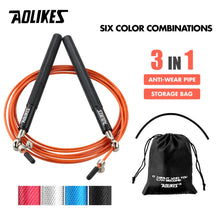 Load image into Gallery viewer, AOLIKES 1PCS Crossfit Speed Jump Rope Professional Skipping Rope For MMA Boxing Fitness Skip Workout Training With Carrying Bag