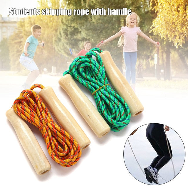 Skipping Rope Wooden Handle Skipping Rope 2.5M for Students Fitness Training Sport Game  THJ99