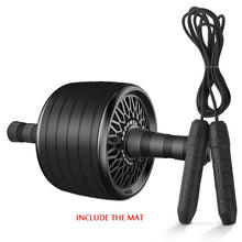 Load image into Gallery viewer, Black Fashion Ab Roller & Jump Rope No Noise Abdominal Wheel Ab Roller with Mat For Arm Waist Leg Exercise Gym Fitness Equipment