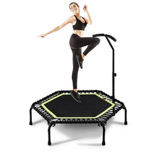 Load image into Gallery viewer, 45 Inch Indoor Silent Mini Trampoline With Adjustable Handle Home Fitness Gym Quiet Rebounder Max Load 150kg Cardio Trainer