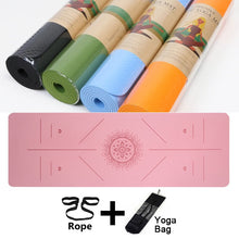 Load image into Gallery viewer, 6mm TPE Yoga Mat With Position Line Exercise Mat Fitness Gymnastics Mats Non-slip Beginner Sport Carpet Pads Women Mats Yoga