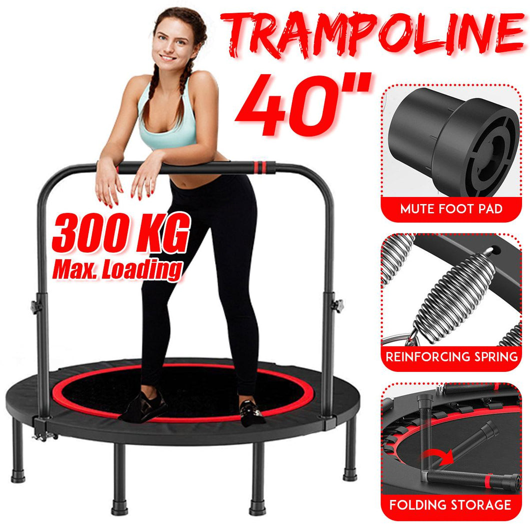 NEW 40 Inch Foldable Exercise Fitness Trampoline With Handrail Adults Kids Home Indoor Gym Cardio Jump Stability Training Tool