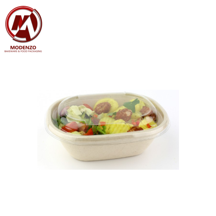 620ml Pulp Oval Bowl + PET Lid - 300pcs/ctn