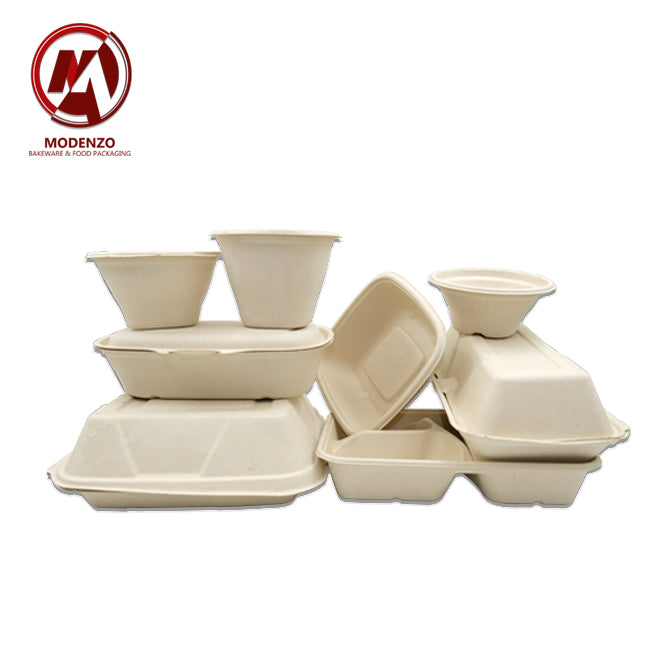 32oz pulp square bowl w/lid - 300 pcs/ctn
