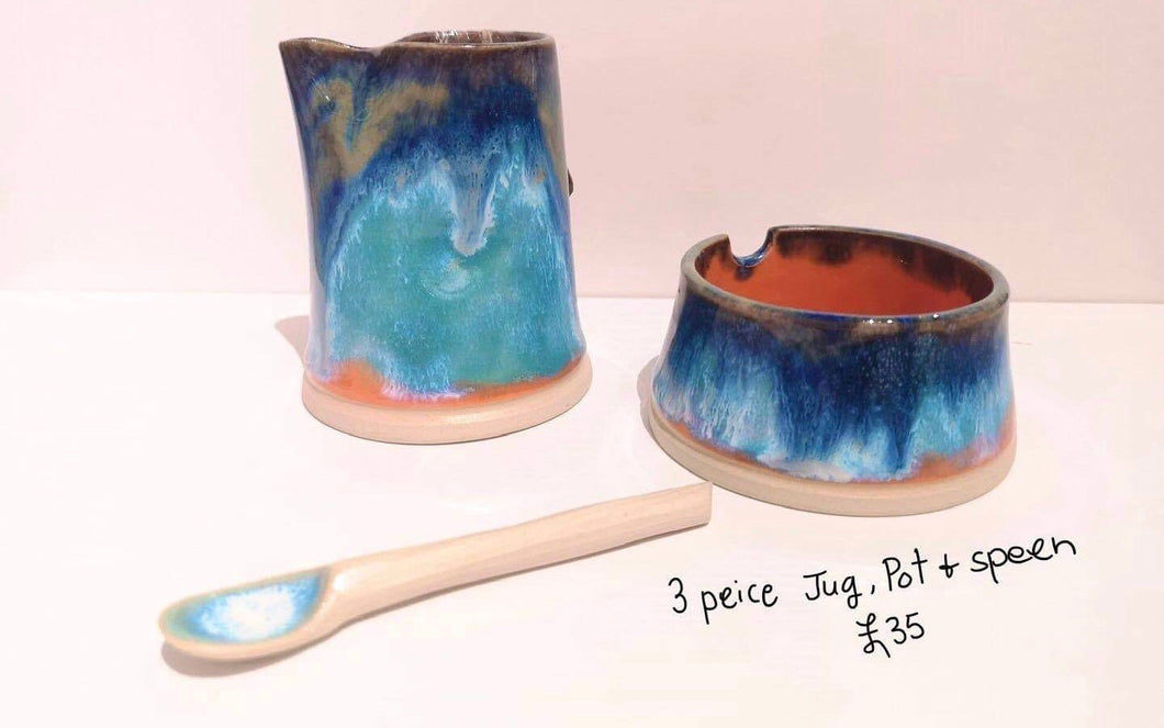 3 piece - Jug, pot, and spoon