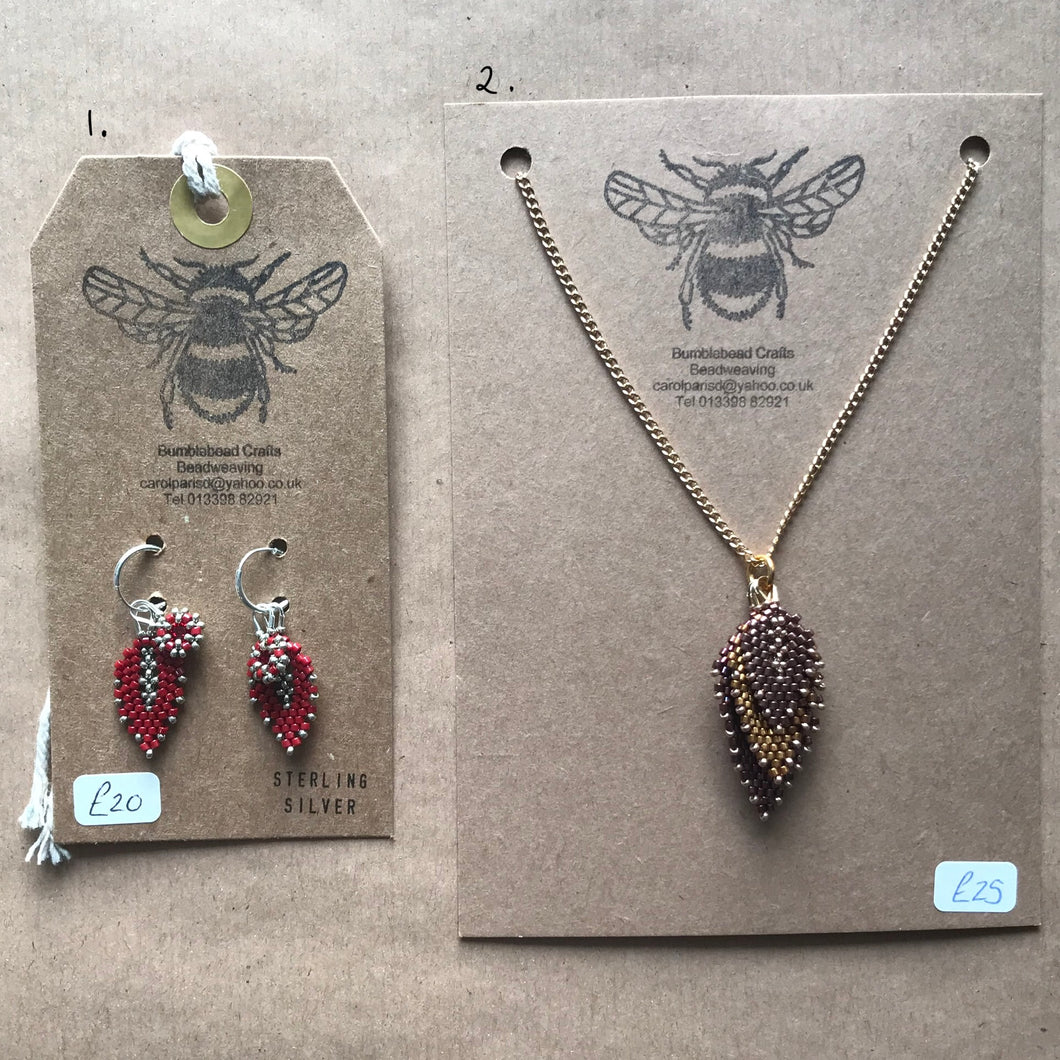 Bumblebead Leaf necklace and earrings