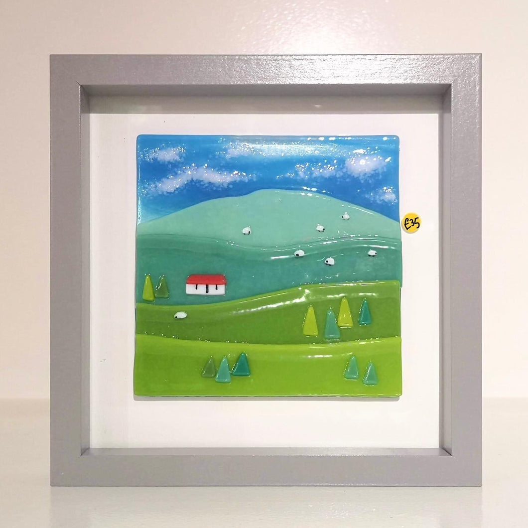 Fused Glass Framed Scottish Scene