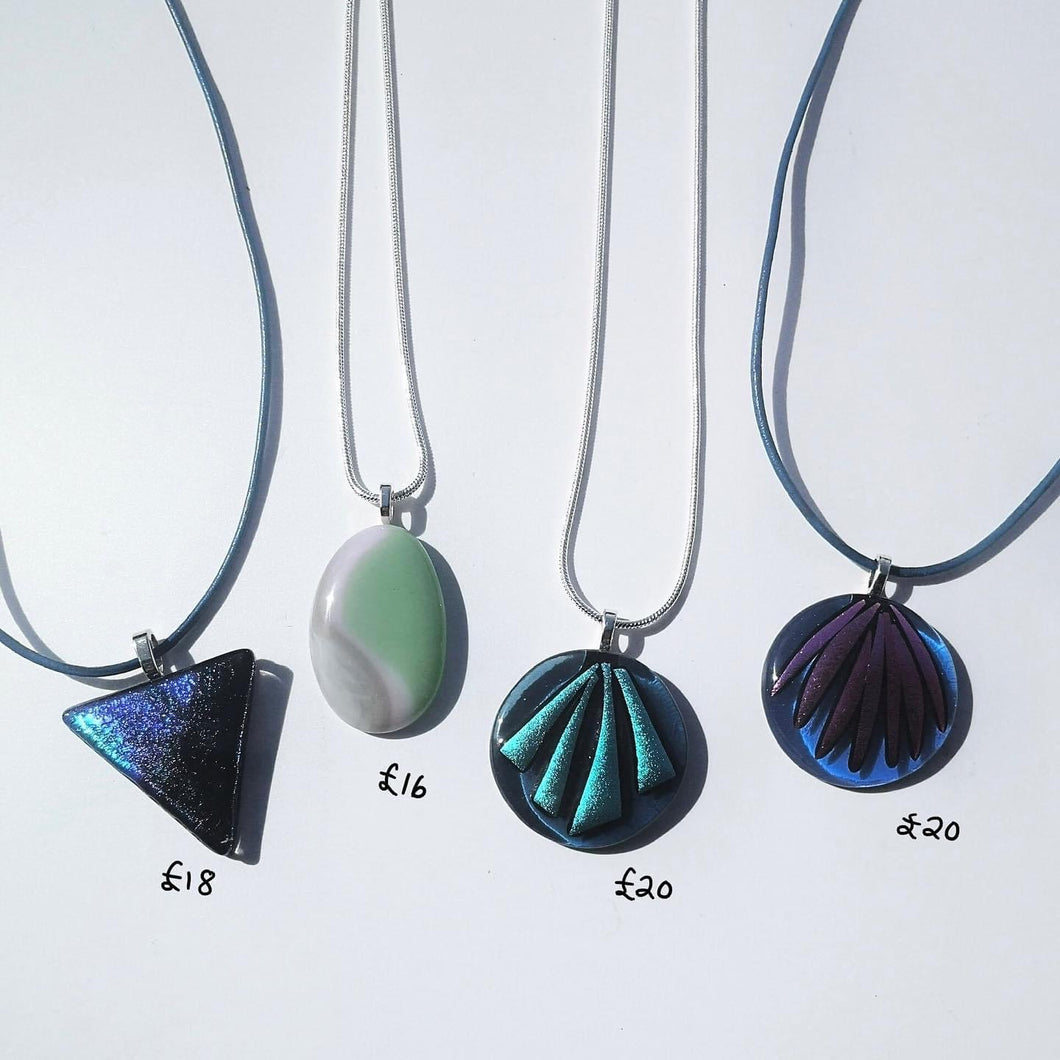 Fused Glass Pendants with necklaces