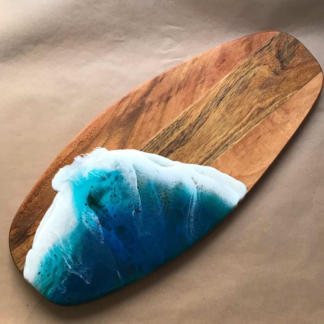 Large resin surfboard serving board