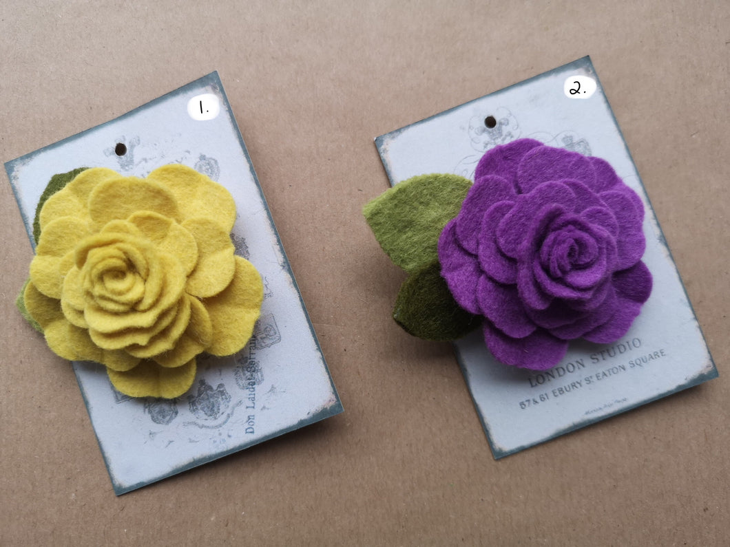 Felt Rose Brooches