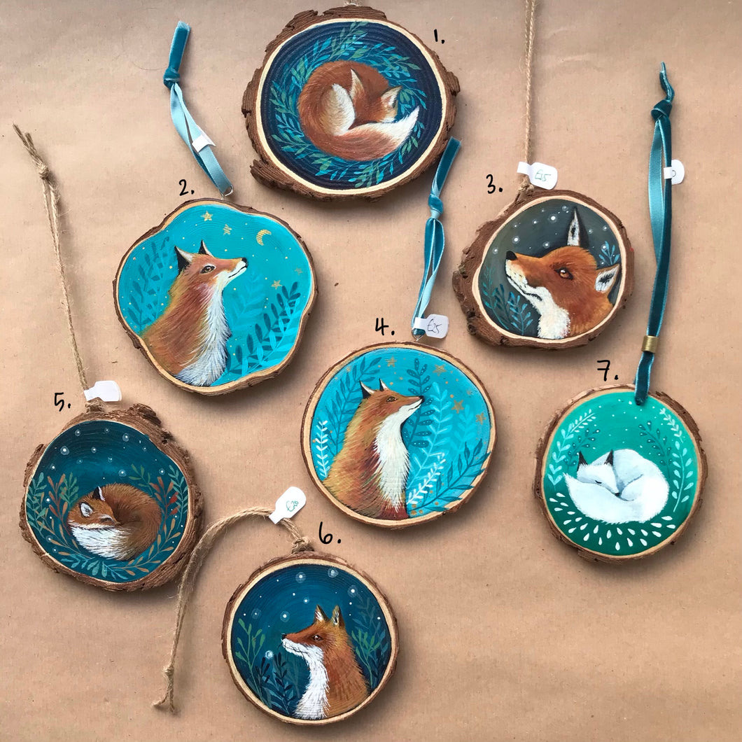 All the Foxes - Hand Painted Log Slices
