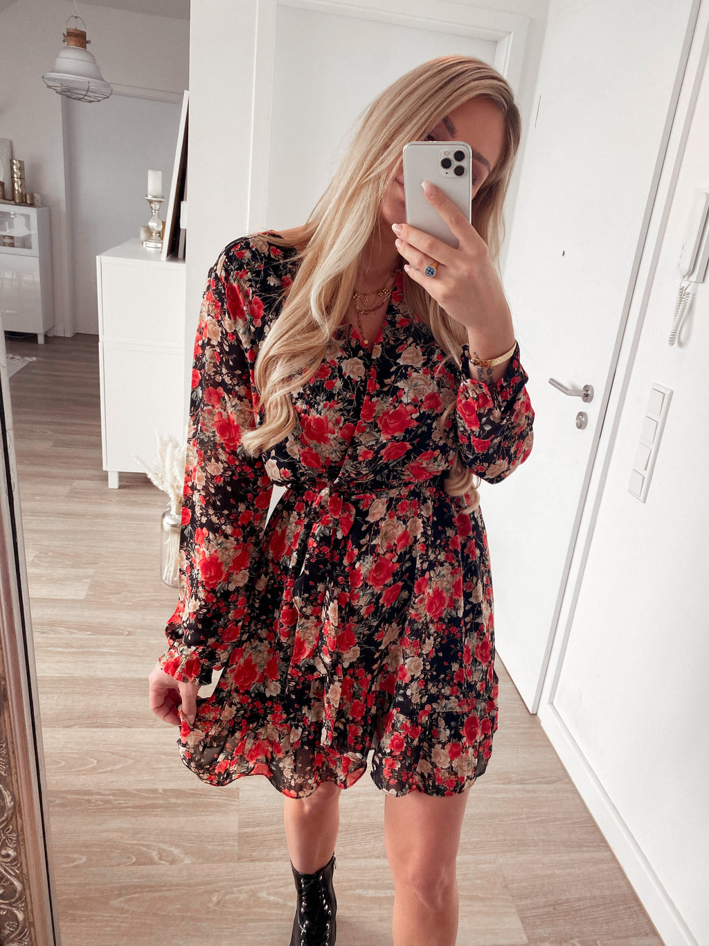 dress 'red spring flowers everywhere'