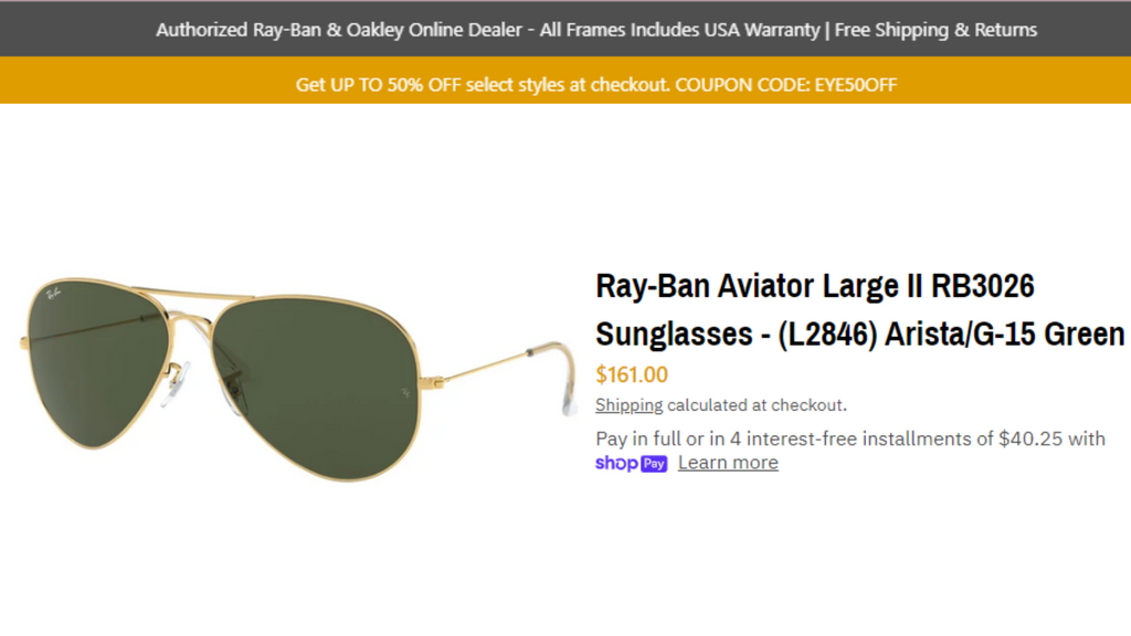 Ray-Ban Aviator Large Metal RB3025 Classic Sunglasses - (001) Gold/G-15 Green