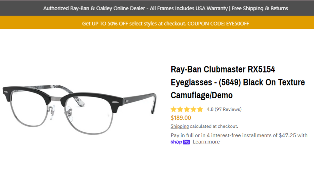 Ray-Ban Clubmaster RX5154 Eyeglasses - (5649) Black On Texture Camuflage/Demo