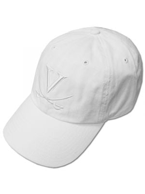 47 Brand Washed White Tonal V and Crossed Saber Adjustable Hat